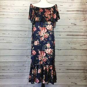 LuLaRoe Cici Floral Velvet Dress, Size 3X